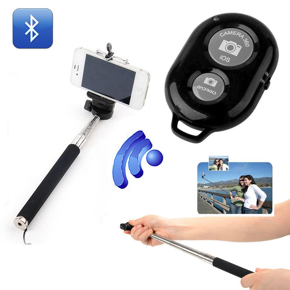 extendable self portrait selfie stick handheld monopod wireless bluetooth rem. Black Bedroom Furniture Sets. Home Design Ideas