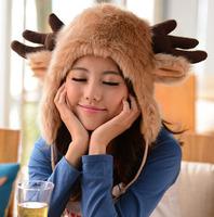 2014 women's rabbit fur hat warm bomber hat for winter ear protector Ox horn hartshorn  beautiful lovely cap
