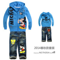 new 2014 cartoon mickey mouse children hoodies +jeans baby boy clothing set ,cotton kids clothes sets for conjuntos free ship
