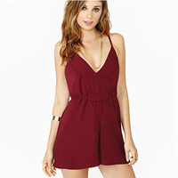 Vintage wine red sexy v-neck backless jumpsuits shorts jumpsuit loose hot pants