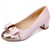 2014 Spring Autumn Fashion Bowknot Women Pink Glitter Shoes Ladies Pumps Plus Size LX10164