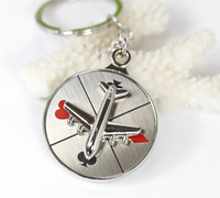 Russian roulette key creative plane rotating compass key ring