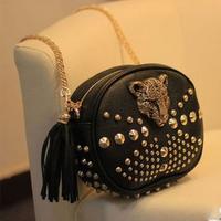 2014 New arrival leopard head rivets women handbag European and American style women messenger bags women handbags