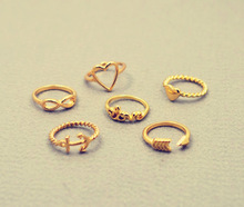 New fashion jewelry heart anchor infinity love finger ring set  gift for women ladies' R1161(China (Mainland))