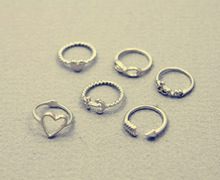 New fashion jewelry heart anchor infinity love finger ring set gift for women ladies R1161
