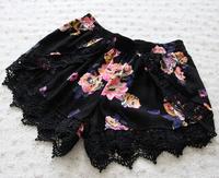 Rose Floral print hem shorts Lace Pom Pom Frill shorts high Waist Beach Shorts Elastic Waist Free Shipping