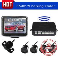 PZ602-W Car LCD wireless Video Parking sensor with 3.5 inch digital TFT monitor 4 sensors backup radar free shipping