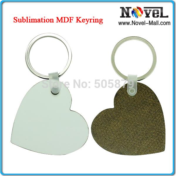 Free Shipping Sublimation Heart Shape MDF Keyring(China (Mainland))