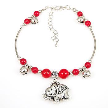 Красный цвета женская леди тибетский ленты красный бусины слон ножной браслет цепь ...