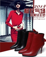 2014 winter new cow leather OL boots/ winter ankle boots/wine red/black/fashion high-heel boots/free shipping