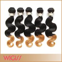 Brazilian Ombre Hair Weaving Body Wave Two Tone Human Remy Hair Extensions 4 Bundles No Tangle 1b27#  Wigiss H6043AZ