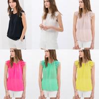 6 colors New 2014 Summer Europe America Fashion Women clothing Lace Blouse Hollow Flowers Splice Sleeveless Vest Chiffon shirt