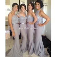Long grey bridesmaid dresses! Special one shoulder shiny appliques sash dress high quality elegant mermaid satin bridesmaid gown