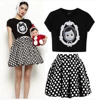 Cloth doll series slim o-neck short-sleeve cotton t top round polka dot skirt 2 piece set