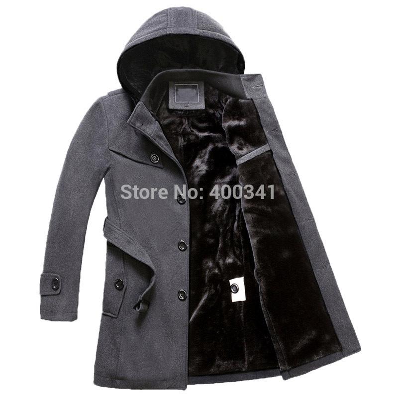 hoody coats for men parka winter fleece lining men's winter jacket(China (Mainland))