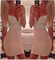 2014 free shipping new sexy women summer strapless V neck dress bodycon bandage dresses