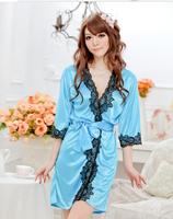 Women's lingerie set temptation lace size lace silk Nightgown suite bathrobe R1015