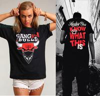 2014 new homme femme brand short sleeve t shirt funny gang bulls women and men desigual tee shirt hip hop streetwear size xl