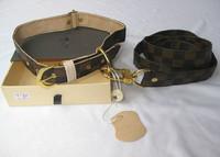designer dog pu leash + collar  2pc set classic check puppy pets leather lead coffee