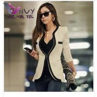 Blazer women white black solid fashion feminino 2014 desigual topshop patchwork cardigan cheap female business suit blazers W170