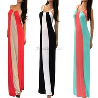 2014 New Sexy Ladies Spring Summer Beach Dresses Long Casual Block Striped Bodycon Women Maxi Long Dress Vestidos Longos P817