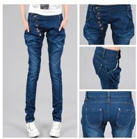 new Korean slim elastic  women Haren jeans pants button  vintage female long pencil jeans trousers