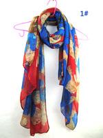 2014 new arrived autumn fashion printe flower design hijab chiffon viscose long shawls/scarves.180*100cm.10pcs/lot.