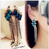 2014 new European and American fashion jewelry All-match luxury sapphire Tassel Earrings The nightclub Earrings Ornaments