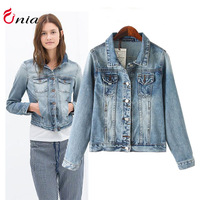 New 2014 autumn winter women coat denim jacket Classical Jackets Fashion lapel Jeans coats rivets the female jackets # 6701