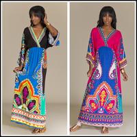 Boho kimono Long Colorful Tribal Print Kimono Maxi Dress