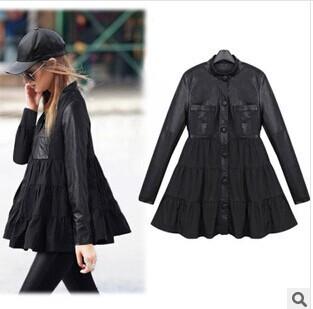 2014 Autumn Winter Замша Jacket Женщины Модный Однобортный Кожа PU является высокотехнологичным ...