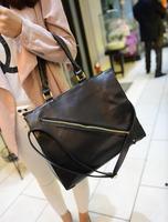Fashion big bags 2013 women's handbag spring vintage bag black zipper one shoulder cross-body handbag large bag