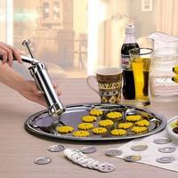 Cake Tool Biscuit Machine 24Pcs/set Stainless Steel Cookie Extruder Press Machine Cookies Cake Maker Making Decorating Gun