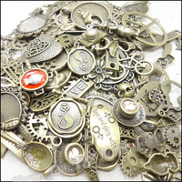 Hot 40-70 pattern Vintage Charms Mixed 60pcs Antique bronze Plated Metal Alloy  Pendants DIY Jewelry Findings