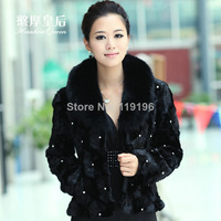 Free Shipping New Arrival 2014 Short Design Slim solid regular Covered Button Women's Mink Fur Overcoat With Fox Fur Collar