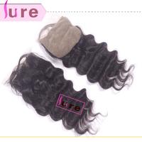 Cheap Silk Base loose wave lace closure 4*4 ,brazilian virgin human hair 6A bleached knots free part closure