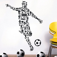 [Black White]Free shipping Drop shipping Wall stickers Wall decal Wall paper  PVC stickers World Cup  football soccer Z-2440