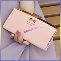 women wallets brand design high quality Golden Bowknot Long PU Leather Card Holders Clips Flower Hasp Buckle Wallets  was-012