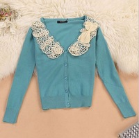 Hot sale 4 color New 2014 fashion spring Women for sweater Lace bowknot knitted sweater Women's cardigan Casual Knitting coat