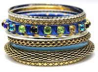 Luxury Vintage Mesh Designed Stacking Handmade Rhinestone Bracelets Bangles. Wholesale Indian Jewelry Mix Silver Slim Bangles