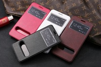 New Genuine Leather Flip Case for Huawei Honor 3X G750 Phone Bag With Stand Open Window View ,Honor 3X Auto Sleep Smart Cover