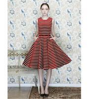 Barbie doll vintage red stripe elegant bitter ball gown dress ,Tall waist super short socia dress lite princess