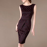 2014 Free Shipping Summer Vintage Formal OLl Ship Sleeveless Slim Print One-piece Dress