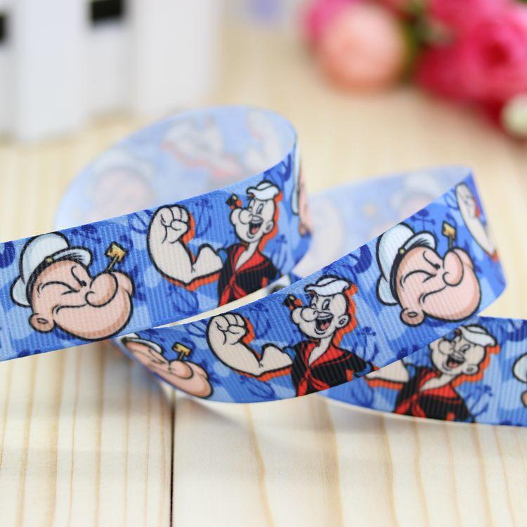 7/8'' Free shipping Popeye printed grosgrain ribbon hair bow diy party decoration wholesale OEM 22mm B333(China (Mainland))