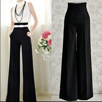 Womens Casual Black Slim High Waist Flare Vintage Career OL Loose  Wide Leg Long Pants Palazzo Trousers with Belt AY656290