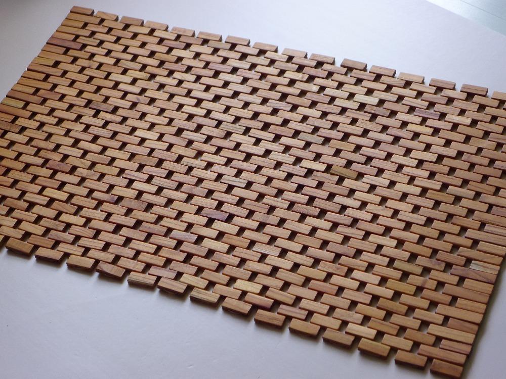 Badkamer Mat : Solid Wood Bath Mat Roll
