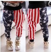 BP074 Free shipping 2014 new USA flag pattern fashion children pants boy and girls harem trousers kids pants retail or wholesale