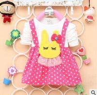 2014 New Baby Clothing Adorable Rabbit Little Girl Dress Children Kids Dress Shirts A165