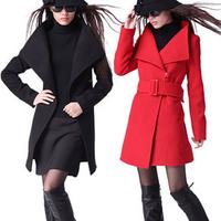 Plus size Womens Wool Coat Trench Coats Outerwear Garment Winter Outdoor Overcoat Elegant Slim Jacket Spring