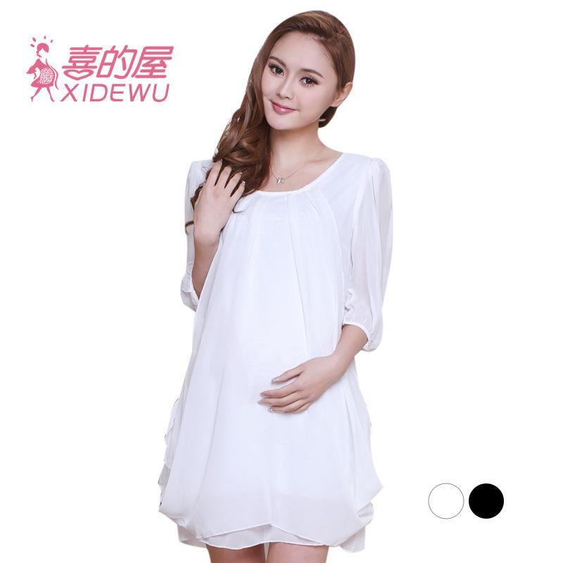 Maternity Chiffon Dress Sweet Black White Maternity Dress ...